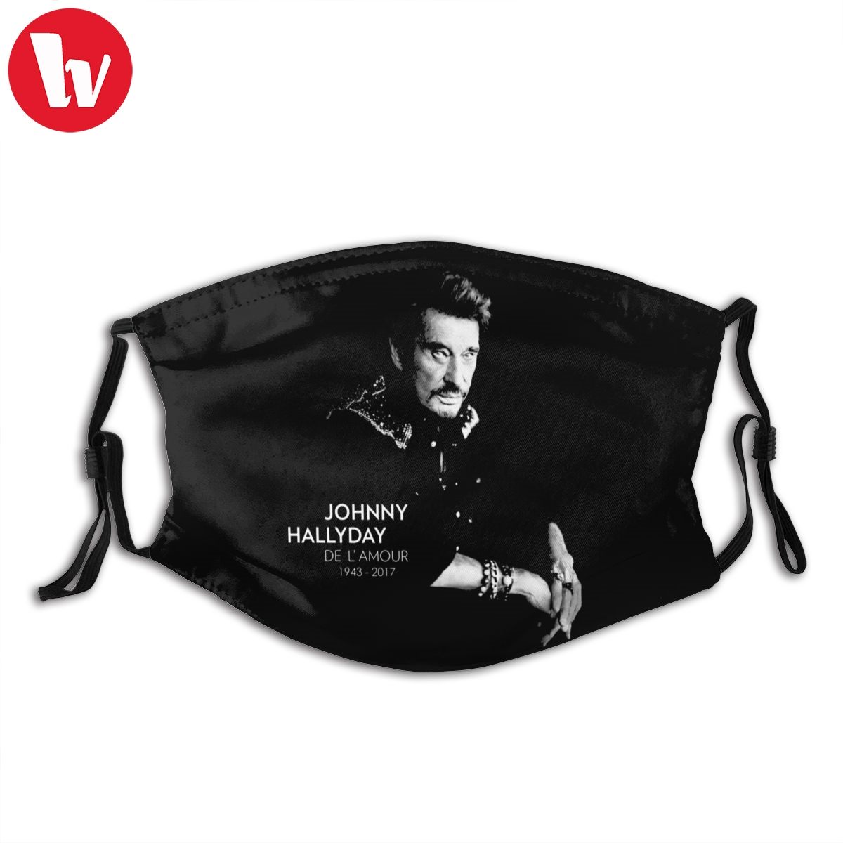 Johnny Hallyday Mouth Face Mask Johnny Hallyday Facial Mask Cool Fashion With 2 Filters For Adult