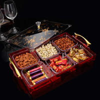 high quality transparent candy partition acrylic box with lid gold handle dried fruit storage boxes for SNACK tray WJ111224