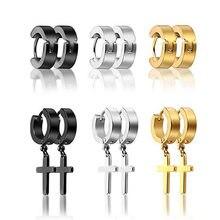 6 pares 12 pçs por atacado titanium aço cruz parafuso prisioneiro brincos conjunto para homens mulheres moda jóias preto ouro prata cor