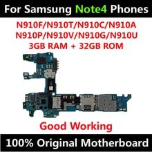Samsung Galaxy not 4 için N910F N910T N910C N910A N910P N910V N910G N910U 32GB orijinal anakart IMEI Android OS