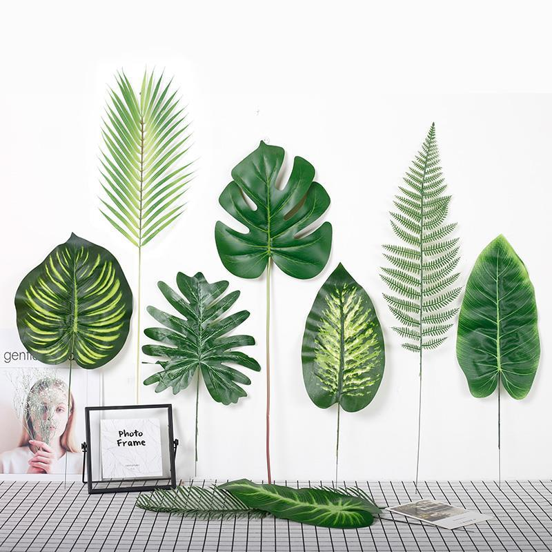 39 Styles Large Green Artificial Tropical Palm Tree Monstera Leaves Home Garden Office Bedroom Decoration Photography Background(China)