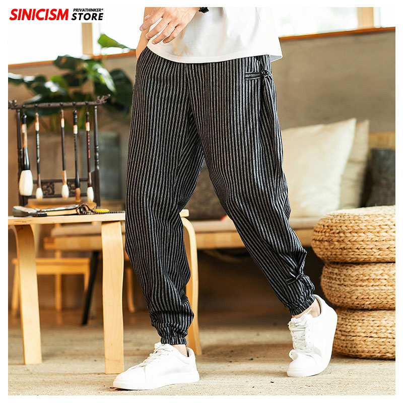 Sinicism Store Men Linen Chinese Style Harem Pants Mens Striped Casual Thicken Trousers Male 2019 Autumn Winter Warm Sweatpants