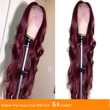 Wine Red Lace Front Wig Synthetic Burgundy Red Colorful Synthetic Wig Women 26 Inch Silky Long Wavy Coaplay Hair Heat Resistant(China)