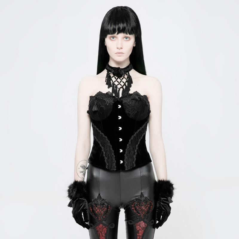 PUNKRAVE Women's Gothic Lace Velveteen Corsets Gorgeous Sexy Strapless Stage Club Bustier Waistcoat