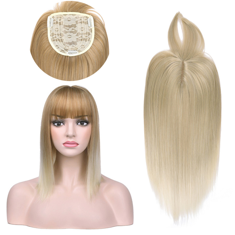 Women Ombre Hair Extension Clip with Bang Long Straight Synthetic Hair Piece High Temperature Fiber