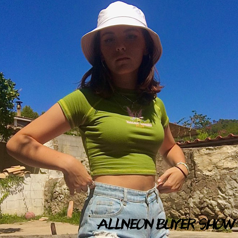 ALLNeon E-girl Butterfly Graphic and Letter Printing Stitch Green Crop Tops Y2K Summer Grunge Style O-neck Short Sleeve T-shirts 3