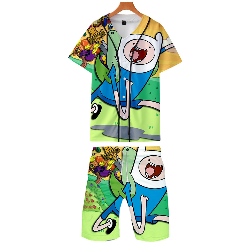 2019 Adventure Time Two Piece Set Jackets And Shorts Kpop Fashion New Cool Adventure Time Baseball Jacket Set For Men Streetwear