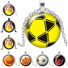 2019 New Hot Creative Basketball LOGO Necklace Gift Glass Convex Round Pendant Necklace Fashion Jewelry 2019 new creative necklace green four leaf clover gift glass convex personality pendant necklace fashion jewelry