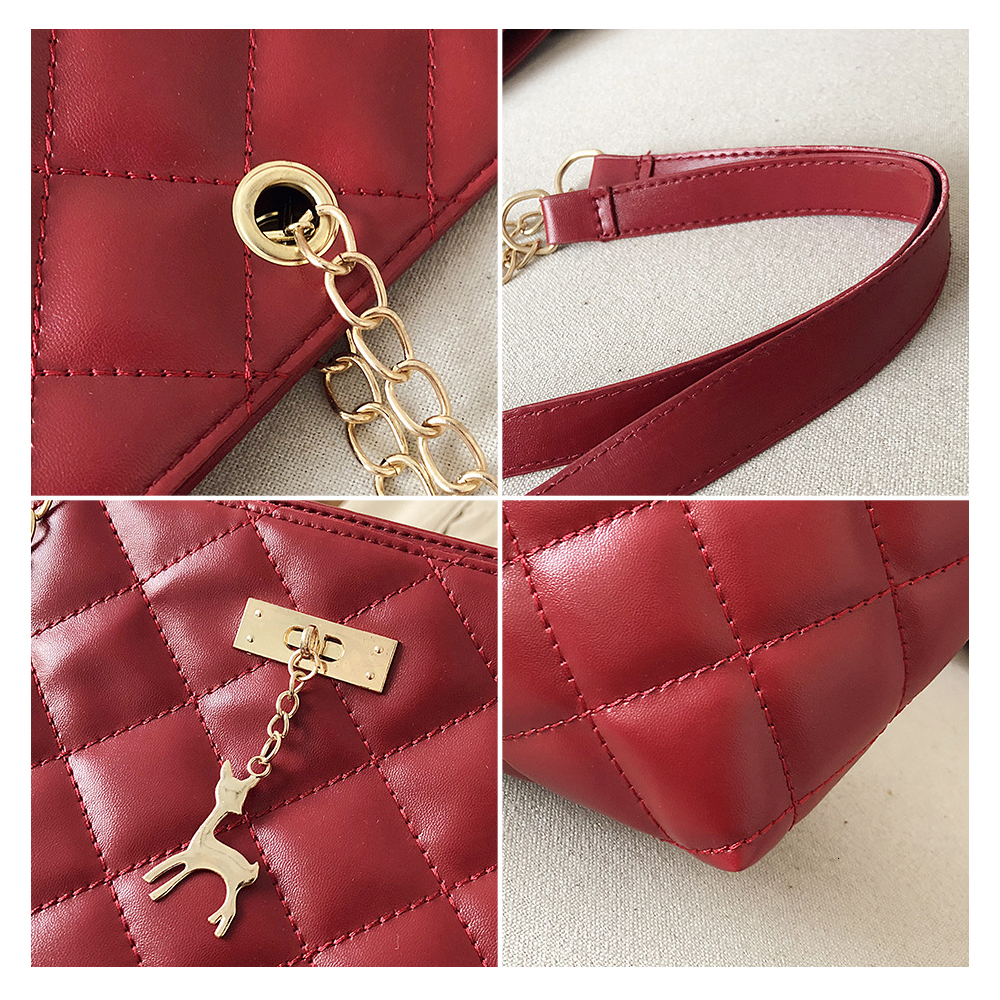 Women Handbag PU Leather 2020 Designer Brand Luxury Chain Shoulder Messenge Crossbody bag Large Capacity Office Lady Bag 3