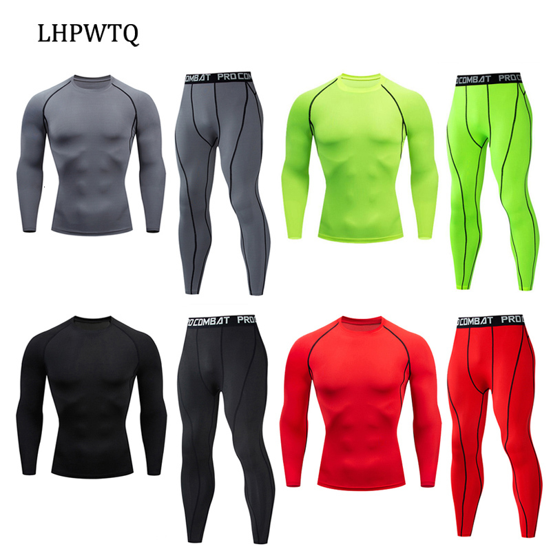 New Sports Suits Winter Men Compression Set Thermal Underwear Sets Elastic Long Johns For Men MMA Compressiom Long Sleeve Set