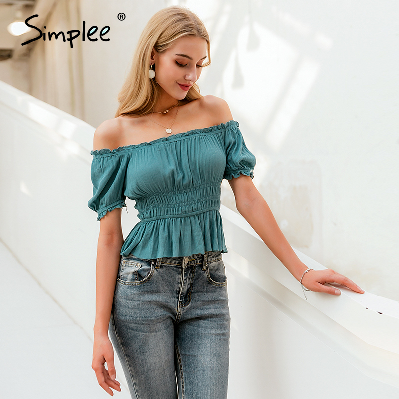Simplee Vintage Sexy Solid Women Blouse Shirt Off Shoulder Crops Tops And Blouse Summer Holiday Beach Slim Half Sleeve Shirt Top