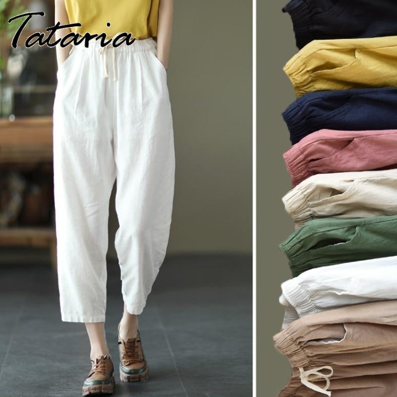 Новые осенние хлопковые льняные брюки Капри женские свободные классические белые брюки со средней талией для женщин однотонные розовые бр...