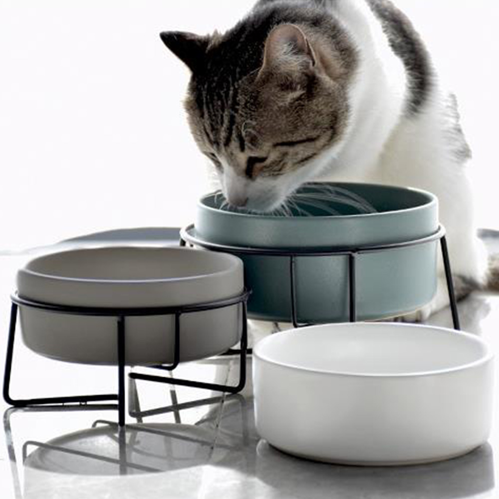400ml Ceramic Pet Bowl Neck Protection Food Water Feeder With Non-Slip Stand Water Bowl Dish For Cats Dogs