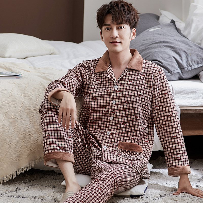 Winter Pajamas Men Long Sleeved Thicken Cotton Warm Soft Cotton Pyjamas Mens Lounge Plaid Pajama Set Sleepwear Sets Big Size 3XL