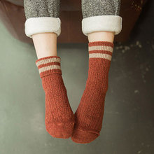 Casual Socks For Women Wool Two striped Thickening Winter Elastic Home Keep Warm Ladys Mid Sock Soft Comfortable