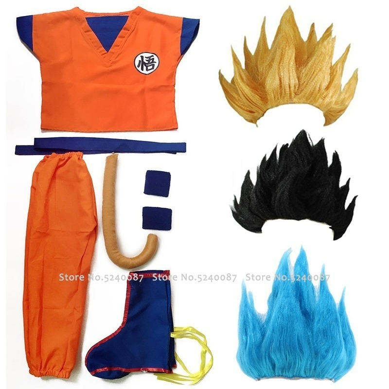 Dragon Ball Z Clothes Suit Son Goku Anime Cosplay Costumes Vest Tops Pants Belt Tail Wrister Wig For Adult Kids Children's Day
