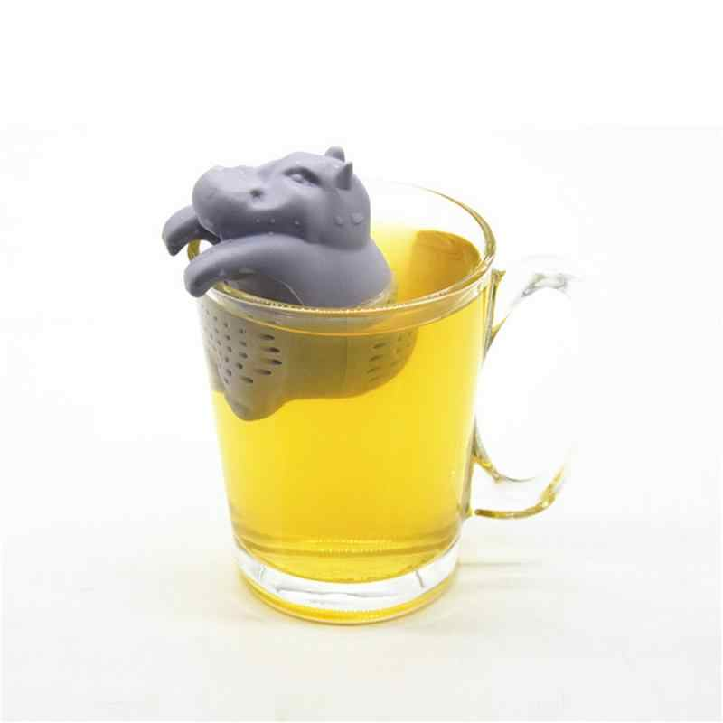 1Pcs Silicone Hippo Shaped Thee-ei Herbruikbare Theezeefje Koffie Herb Filter Voor Thuis Losse Blad Diffuser Accessoires