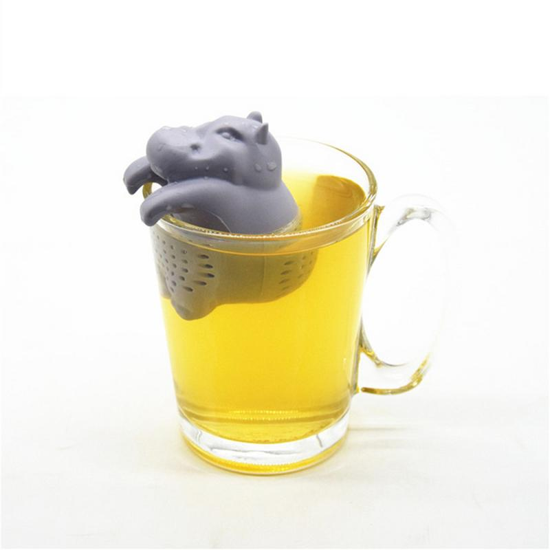 1Pcs Silicone Hippo Shaped Tea Infuser Reusable Tea Strainer Coffee Herb Filter For Home Loose Leaf Diffuser Accessories