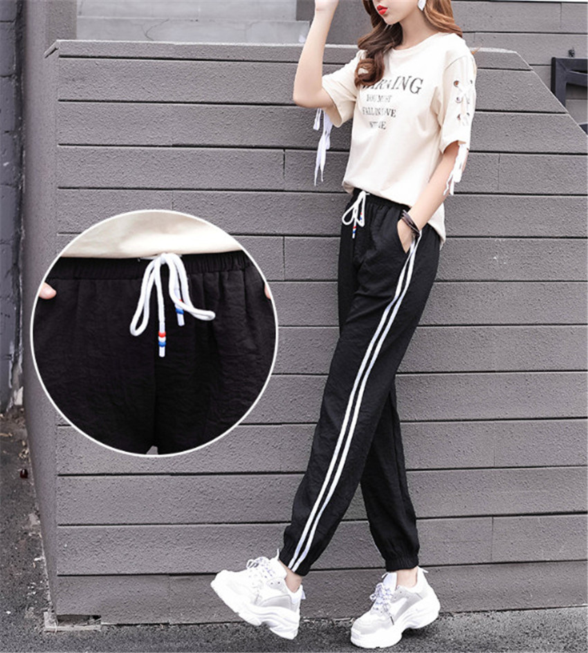 Womens Harem Pants  Plus Size High Waist Pants with Pockets  female jogger Stripe  ouc598a