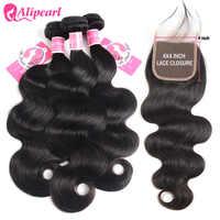 AliPearl-extensiones de cabello humano ondulado con cierre, 4x4, extensiones de cabello brasileño prearrancado con cierre, Remy