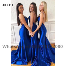 2021 Royer Blue Wedding Party Gown Backless Bridesmaid Dresses Long Spaghetti Straps Shiny Satin Women Bridesmaid Dresses