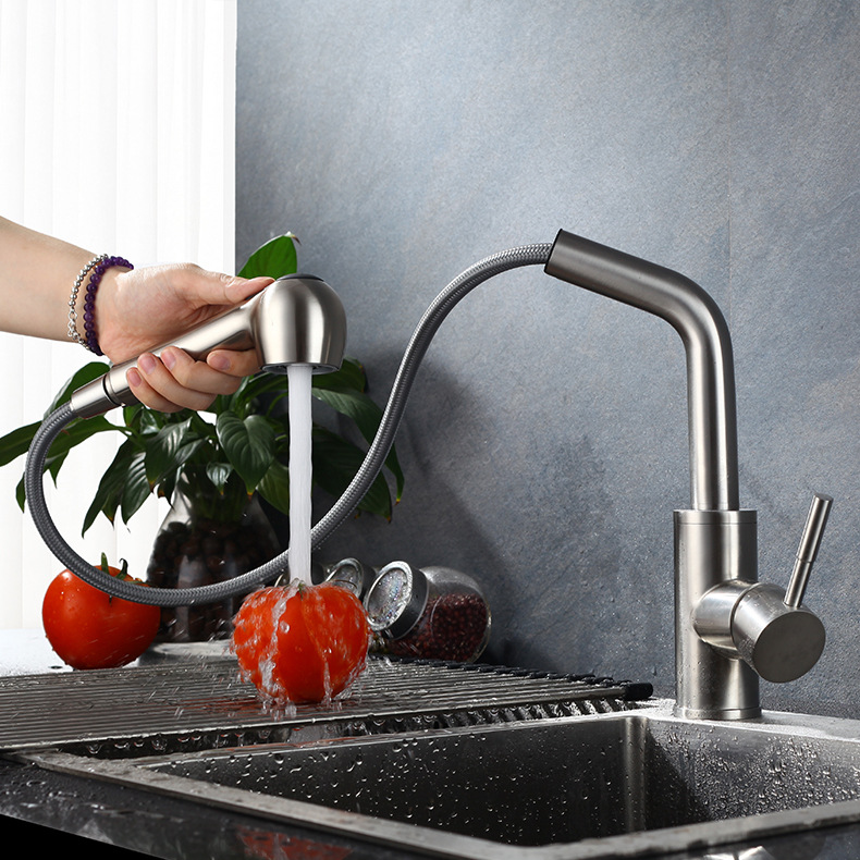 SUS304 Stainless Steel Pullout Faucet Pull-out Kitchen Faucet Hot And Cold Kitchen Faucet Universal Rotating