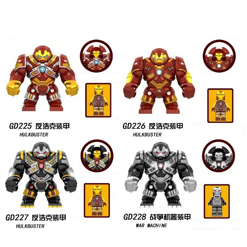 Building Blocks Avengers 4 Endgame Iron Man War Machine Hulk Hulkbuster Big Size Figures Toys For Kids GD225 GD226 GD227 GD228