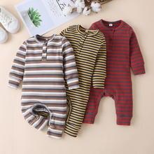 Malapina moda bebê recém-nascido da menina do menino macacão roupas de algodão bonito listra manga longa macacão infantil roupas pijama