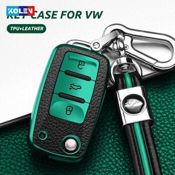 Leather+TPU All-Inclusive Car Key Full Cover Case For Volkswagen VW Polo Tiguan Passat B5 B6 B7 Golf EOS Scirocco Jetta MK6 Bora plastic car key case for cover for vw volkswagen polo passat b5 golf 4 5 6 jetta mk6 tiguan gol crossfox eos scirocco