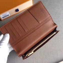 Monogramm Brieftasche Frauen Lange Braun Klassische Karte Halter Dame Geldbörsen und Brieftaschen cartera mujer geld tasche echt leder geldbörse geldbörsen