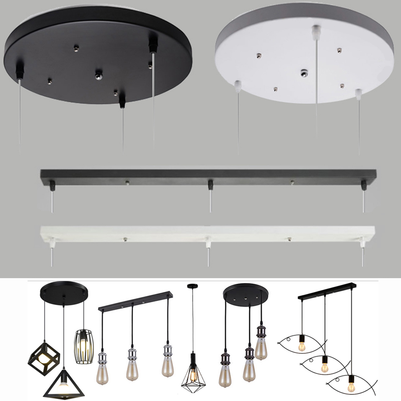 Ceiling Plate Pendant Lamp Base Plate Lighting Accessory DIY Multi Sizes Black White Round Rectangle Canopy Plate Lamps Chassis