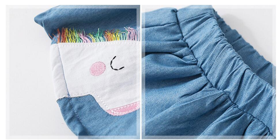 Little Maven Summer Baby Girl Clothes Denim Color Cotton Mini Unicorn Denim Color Lolita School Cute Skirts for Kids 2-7 Years 3