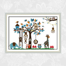 Happy zoo printed canvas 14ct 11ct cross stitch kits embroidery