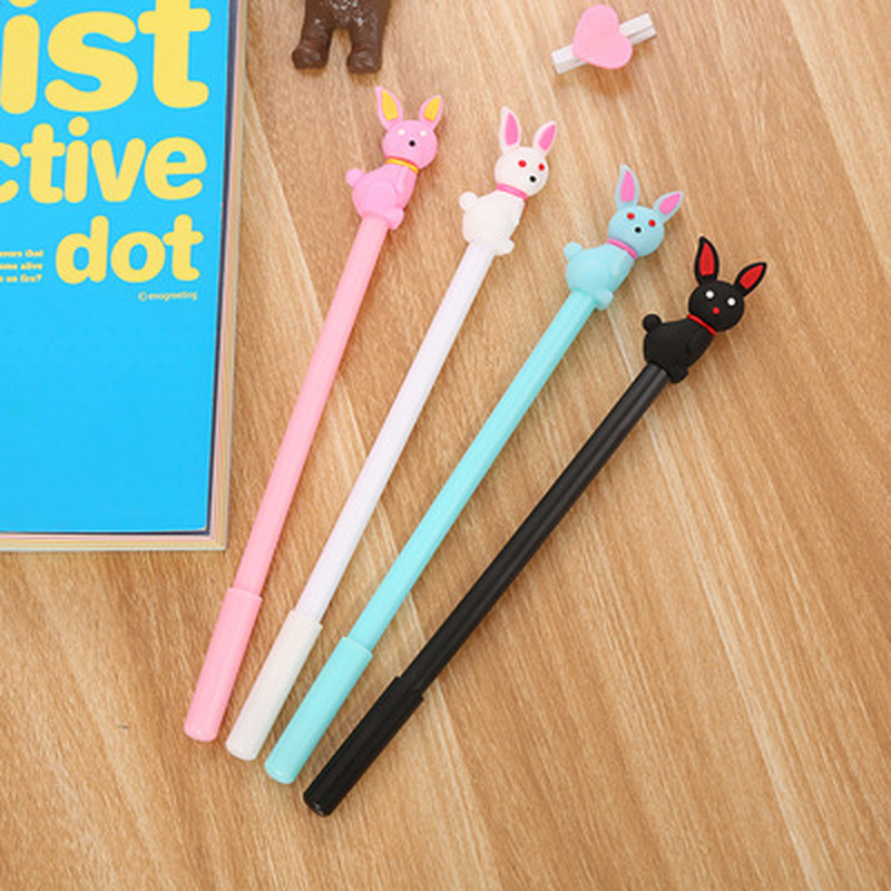 1pcs Bunny Gel Pen0.5mm  Kawaii Pen Student Cute Signature Pen Novelty Stationery Black Cat Pens Kawaii School Supplies