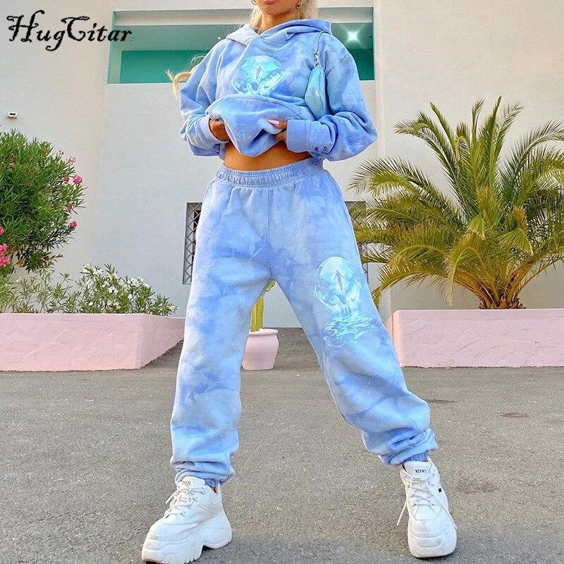Hugcitar 2020 druck tie dye mit kapuze sweatshirt jogginghose 2 stück set herbst winter frauen mode streetwear outfits casual overs