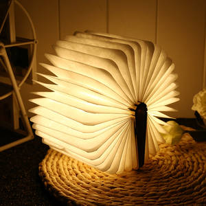 Book-Lamp Warm Mini Decor-Lighting Usb-Desk Folding Rechargeable LED Bedroom Wooden