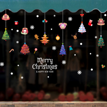 DIY Christmas Tree Pendant Cute Cartoon Animal Mall Store Transparent Window Wall Sticker Home Decoration Sticker image