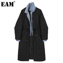 Drawstring Women Parkas EAM Cotton-Padded-Coat Winter Fashion Denim New Autumn Long Spliced