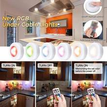 Remote Controlled Color-Changing Night Light LED Under Cabinet Light RGB Mini Night Lamp Party Kitchen Stair Wall Cabinet Light