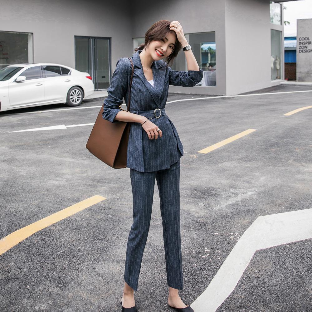 New Fashion Spring Summer Women's OL Fashion Warm Striped Blazer With Belt Slim Pants Two-piece Set