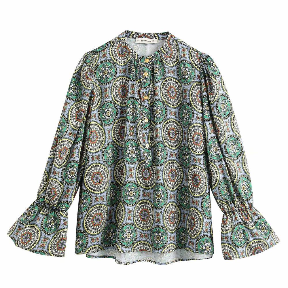 2020 Englan Style Women Stand Collar Totem Print Casual Smock Blouse Shirt Women Flare Sleeve Chic Chemise Femininas Tops LS6359