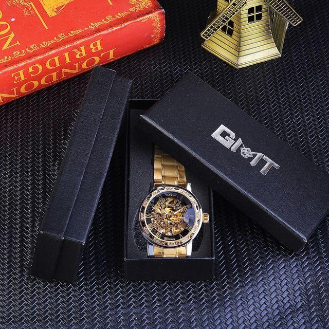 Winner Golden Watches Classic Rhinestone Clock Roman Analog Male Skeleton Clocks Mechanical Stainless Steel Band Luminous Watch 6