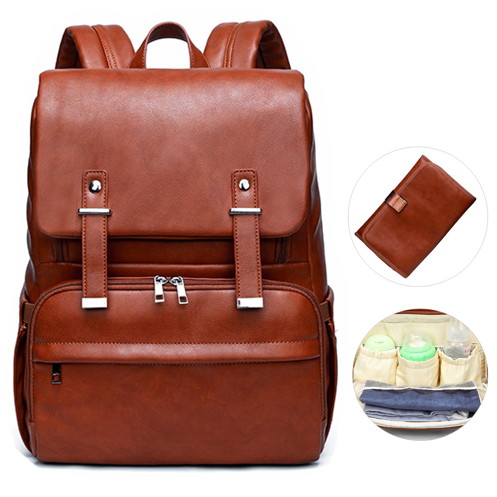 Luxury Waterproof PU Baby Diaper Bag Backpack Bags Organizer Mummy Leather Maternity Baby Bag For Mom Mummy Stroller Diaper Bag