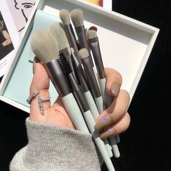 8pcs Mini Matte Makeup Brushes Set Wooden Handle Eyeshadow Eyebrow Foundation Blush Loose powder Lips Face Makeup Tools 1