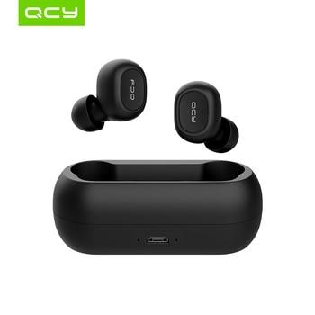 QCY T1C fon kepala tanpa wayar bluetooth V5.0 baru earphone bluetooth fon telinga suara stereo 3D dengan mikrofon dwi dan kotak pengecasan