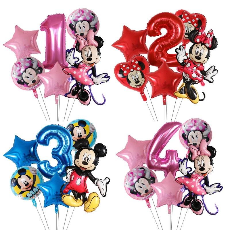 6 шт./лот Disney минни воздушные шары «Микки Маус» для дня рождения вечерние украшения Baby Shower Декор детские игрушки воздушный шар Globos поставки