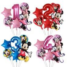Lote de 6 Globos de Minnie de Disney, decoraciones para fiesta de cumpleaños de Mickey Mouse, juguete infantil globo de aire, suministros