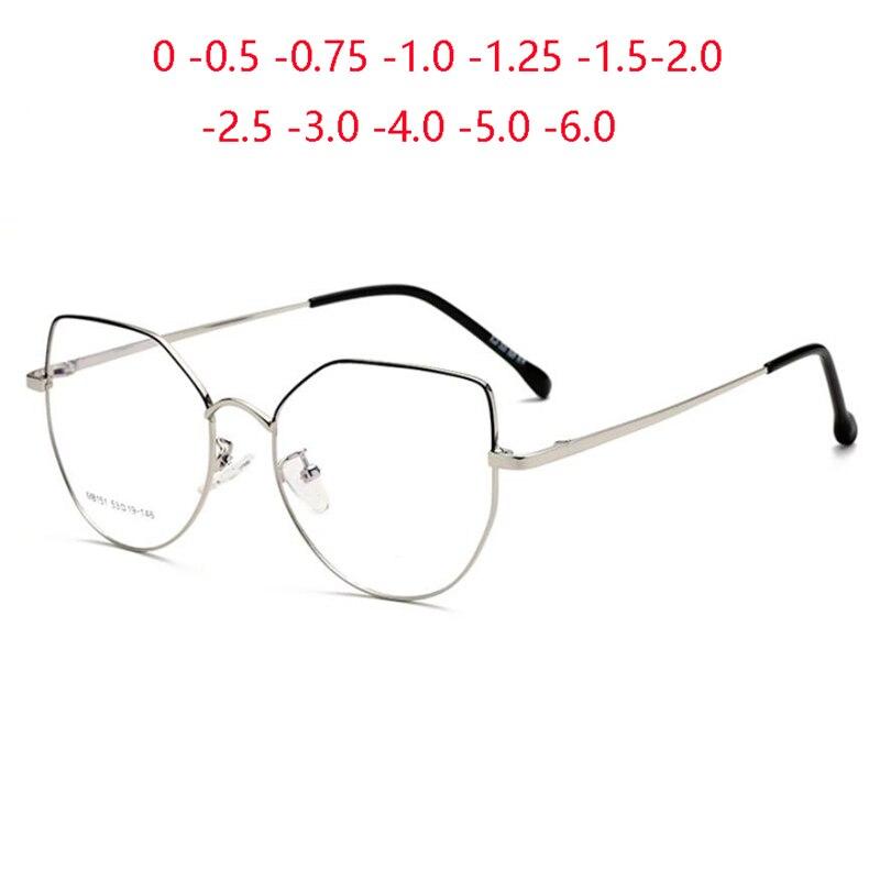 Gafas ópticas de ojo de gato de acero inoxidable para mujer, gafas de prescripción de Metal Anti luz azul, gafas femeninas SPH 0-0,5-0,75-1,0 To-4,0