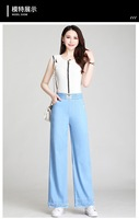 A180 Summer 2020 Korean version of high waist solid color casual pants loose trousers