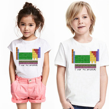 New Summer Fashion Casual Personality Chemical Element Table Pattern Children's T-shirt Boy and Girl Short Sleeves Birthday Gift